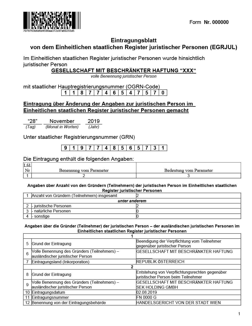 Пример перевода Выписка из ЕГРЮЛ на немецкий