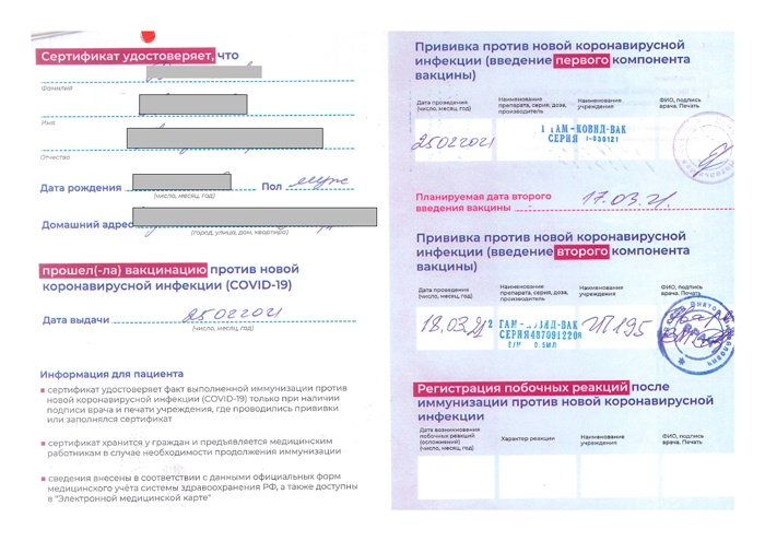 Бумажный вид сертификата о вакцинации
